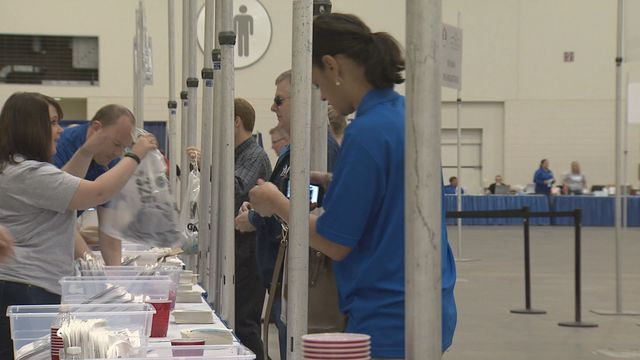 Runners get ready at the Fifth Third Bank River Bank Run Sports and Fitness Expo | WZZM13.com